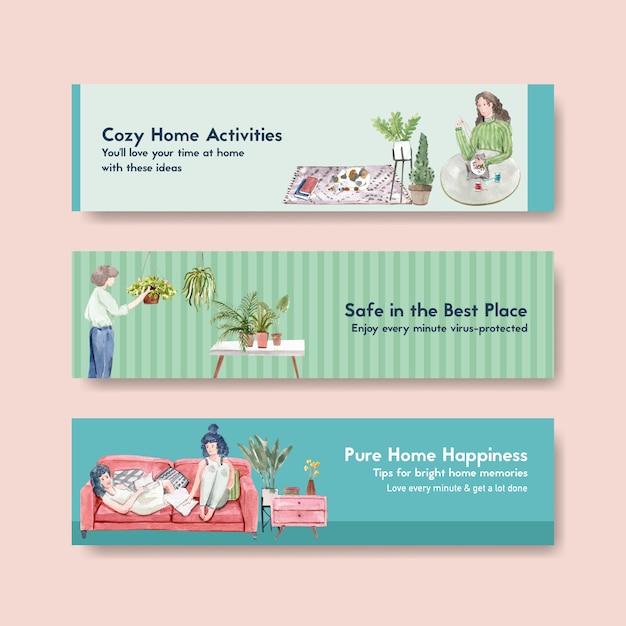Оставайтесь дома концепция баннера с характером людей делают деятельность, садоводство и расслабляющий дизайн иллюстрации акварель Бесплатные векторы
