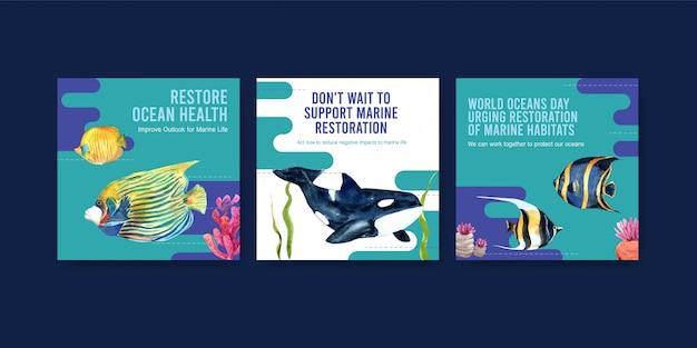 Всемирный день океанов шаблон оформления концепции охраны окружающей среды с рыбой, кораллами и косатками. Бесплатные векторы