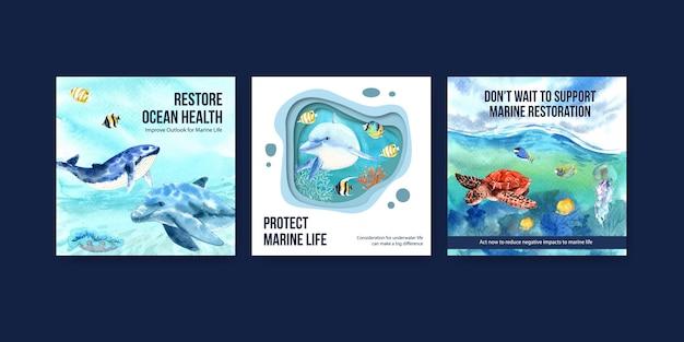 世界海洋デーの環境保護の概念広告テンプレート 無料ベクター