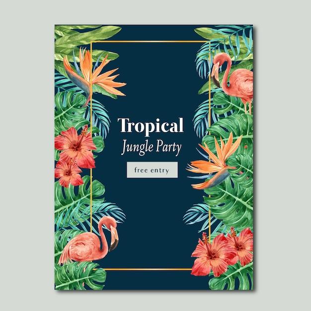 Тропический плакат лето с экзотической листвой растений, креативная акварель Бесплатные векторы