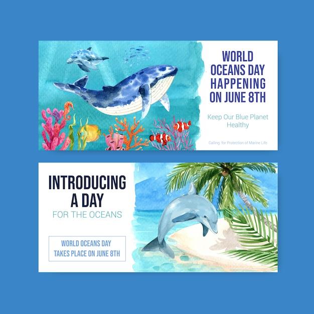海洋動物の水彩ベクトルと世界海洋デーのコンセプトの看板テンプレートデザイン 無料ベクター