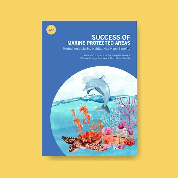 Информация о концепции всемирного дня океанов с вектором акварели морских животных, дельфинов, морских коньков и черепах Бесплатные векторы