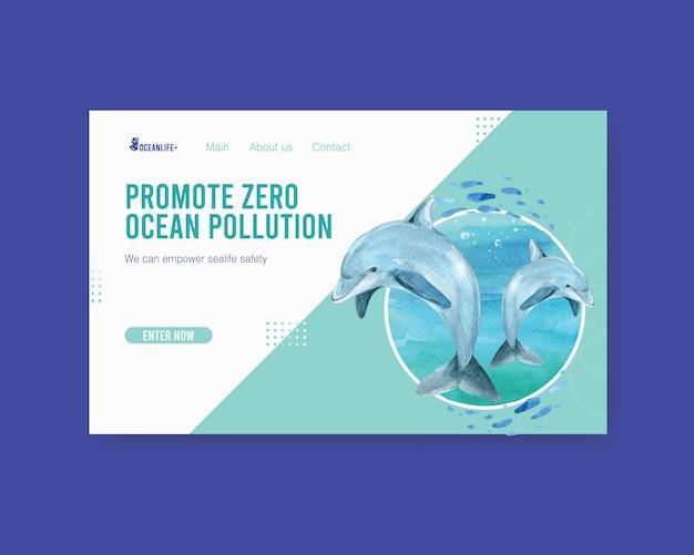 Дизайн шаблона сайта для концепции всемирного дня океанов с акварелью вектор дельфин Бесплатные векторы
