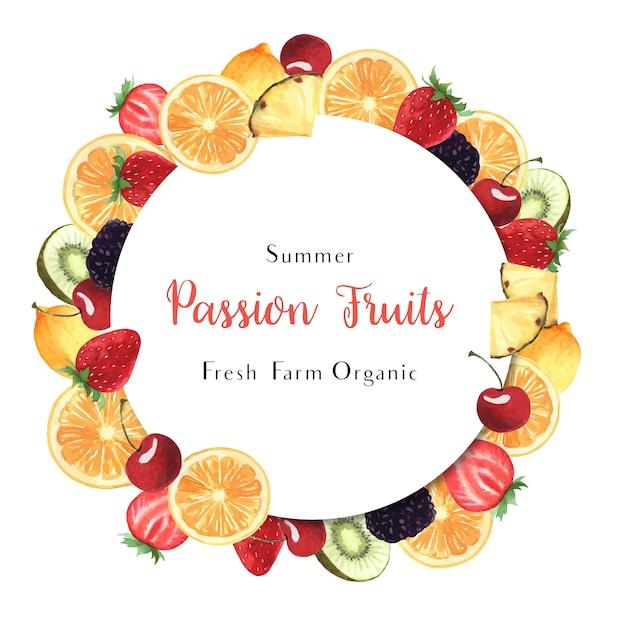 トロピカルシーズンのフルーツリースバナーデザイン、パッションフルーツオレンジ新鮮でおいしいフレーム 無料ベクター