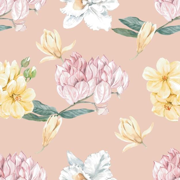 Бесшовный цветочный узор Бесплатные векторы