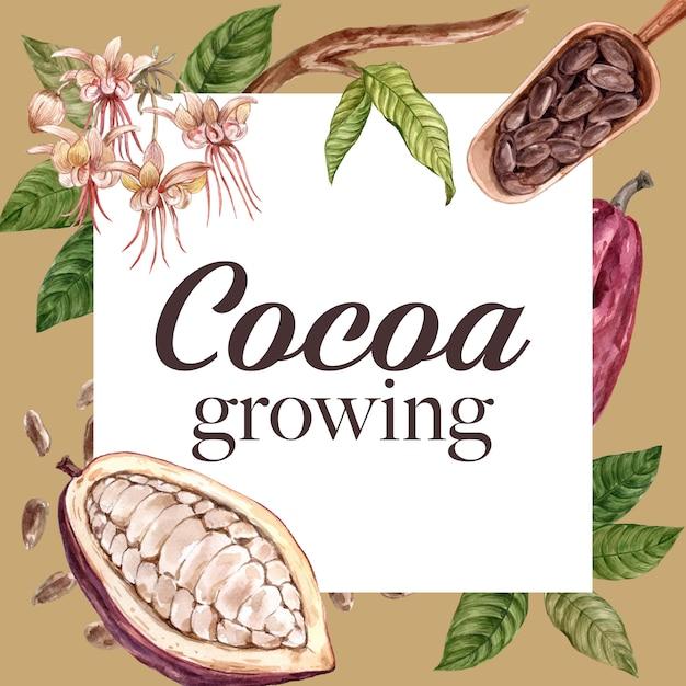 Шоколадные акварельные ингредиенты листья какао, масло, иллюстрация Бесплатные векторы