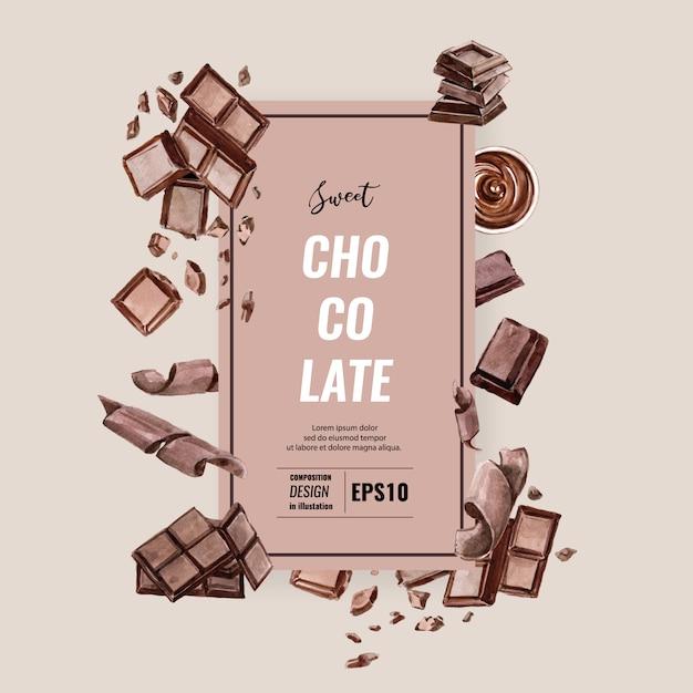 Шоколадный напиток, акварель, шаблон композиции, иллюстрация Бесплатные векторы