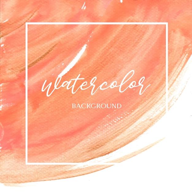 コーラルカラートレンディな貝殻水彩画とゴールドガッシュテクスチャ背景印刷壁紙 無料ベクター