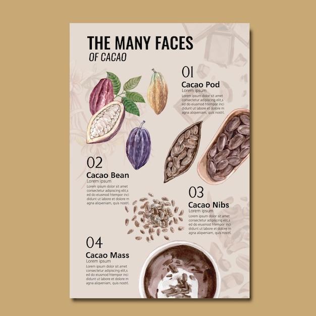 Акварель ингредиенты шоколад с какао ветви деревьев, инфографика, иллюстрация Бесплатные векторы
