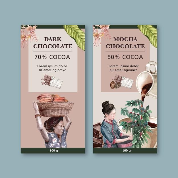 食材ココア、水彩イラストを収穫する女性とチョコレートのパッキング 無料ベクター