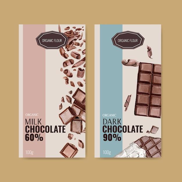 チョコレートバーとチョコレートのパッキングが壊れた、水彩イラスト 無料ベクター