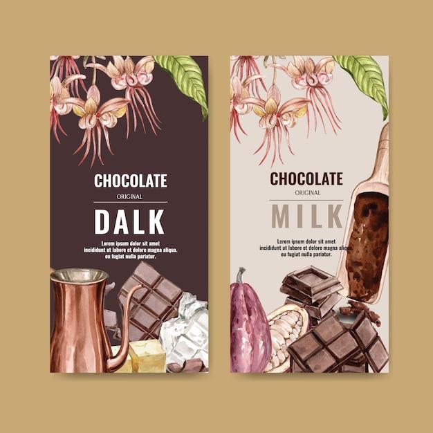 チョコレート支店食材支店ココア、水彩イラスト 無料ベクター