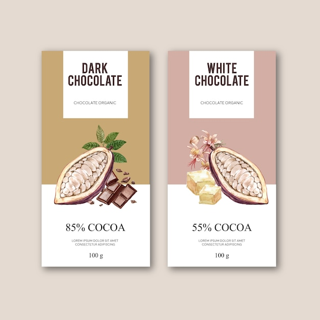 Шоколадная упаковка с ингредиентами филиал какао, акварель иллюстрация Бесплатные векторы