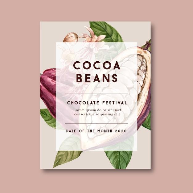 食材支店ココア、水彩イラストとチョコレートのポスター 無料ベクター