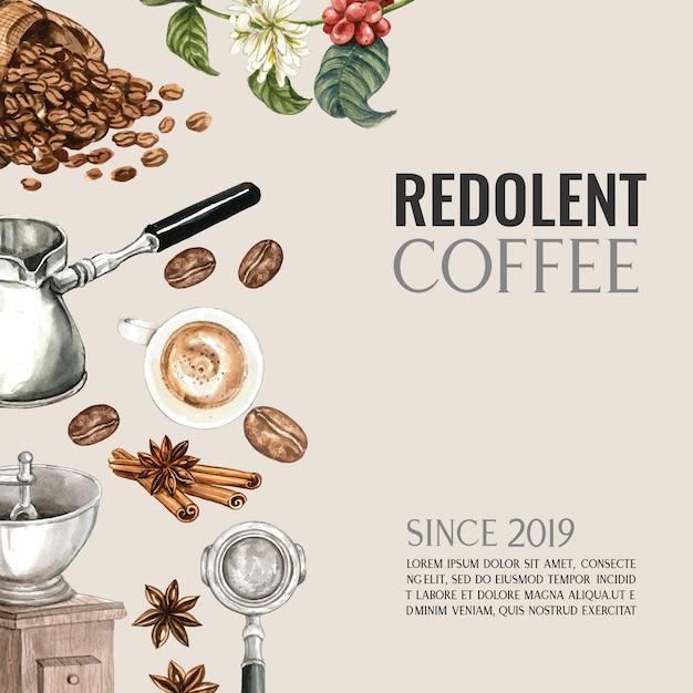 コーヒーカップアメリカーナ、シナモンコーヒーメーカー水彩イラスト付きコーヒーアラビカ豆バッグ 無料ベクター