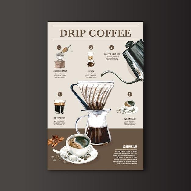 ドリップコーヒーメーカー、アメリカーノ、カプチーノ、エスプレッソメニュー、モダン、水彩イラスト 無料ベクター