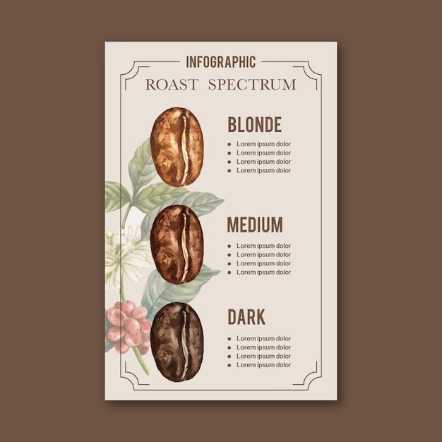 Кофе арабика жареные бобы тип ожога кофе, инфографики акварель иллюстрации Бесплатные векторы