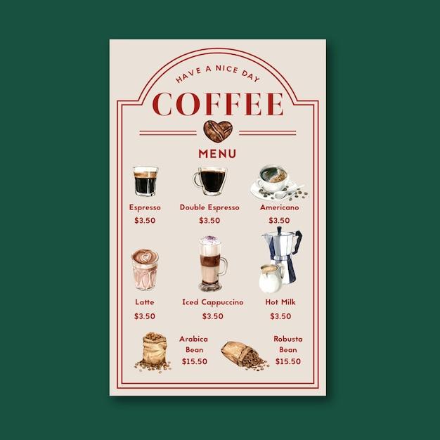 コーヒーハウスメニューアメリカン、カプチーノ、エスプレッソメニュー、インフォグラフィック、水彩イラスト 無料ベクター
