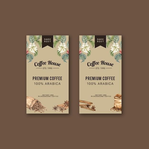 枝とコーヒー包装袋の葉豆、メーカー機、水彩イラスト 無料ベクター