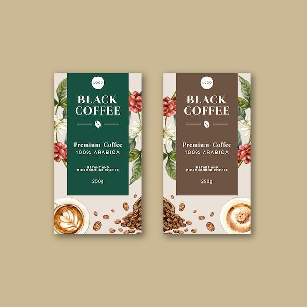 Сумка для упаковки кофе с ветвью листьев бобов, кофеварка, акварель Бесплатные векторы