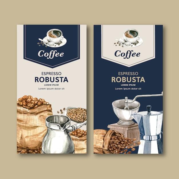 Сумка для упаковки кофе с фасолью, кофеварка, акварель иллюстрация Бесплатные векторы