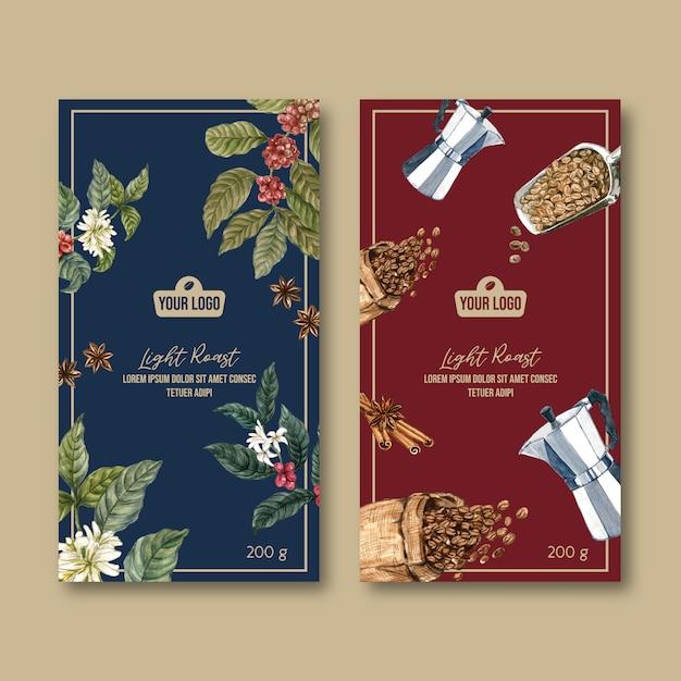 Сумка для упаковки кофе с ветвью листьев фасоли, винтаж, акварель иллюстрация Бесплатные векторы