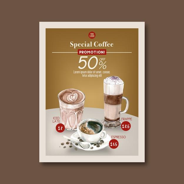 アメリカーナ、カプチーノ、エスプレッソコーヒーポスター割引、テンプレート、水彩イラスト 無料ベクター
