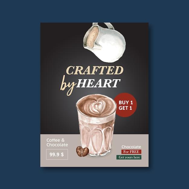 アメリカーナ、カプチーノコーヒーポスター割引、モダンなテンプレート、水彩イラスト 無料ベクター