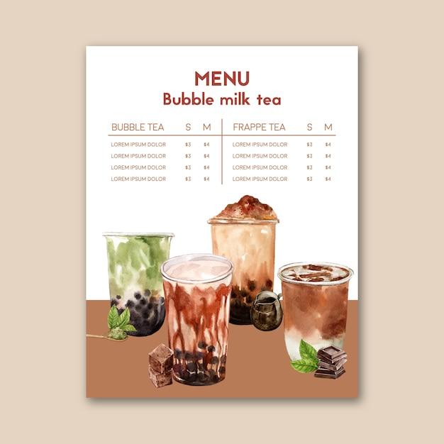ブラウンシュガーバブルミルクティーと抹茶メニュー、広告コンテンツのヴィンテージ、水彩イラスト 無料ベクター