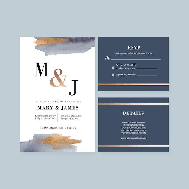ブラシストロークと水彩の結婚式カードテンプレート 無料ベクター