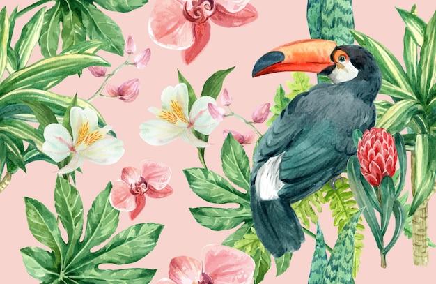 熱帯パターン花水彩、感謝カード、テキスタイルプリントイラスト 無料ベクター