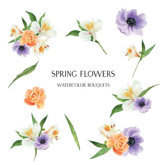 ケシ、ユリ、牡丹の花のブーケ植物花柄イラストレーション水彩画 無料ベクター