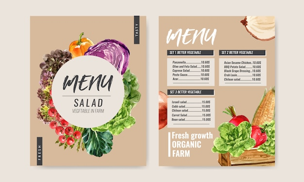 野菜の水彩絵の具のコレクション。生鮮食品オーガニックメニューの健康的なイラスト 無料ベクター