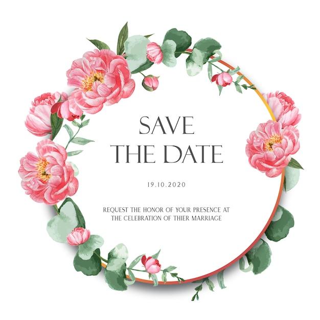 Розовый пион венки акварелью цветы с текстом Бесплатные векторы
