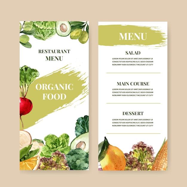 Коллекция растительных акварельных красок. иллюстрация органического меню свежих продуктов здоровая Бесплатные векторы