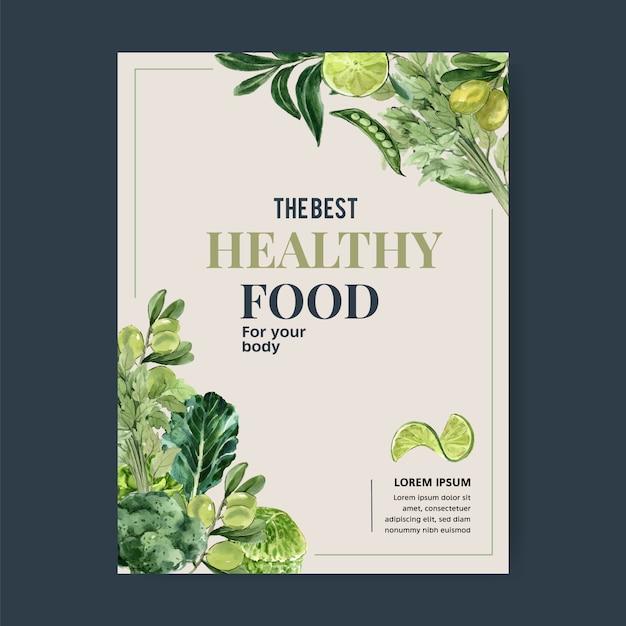 野菜の水彩絵の具のコレクション。生鮮食品有機ポスターチラシ健康イラスト 無料ベクター