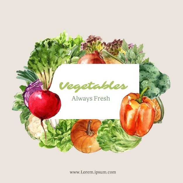 野菜の水彩絵の具のコレクション。生鮮食品オーガニックの装飾健康広告イラスト 無料ベクター