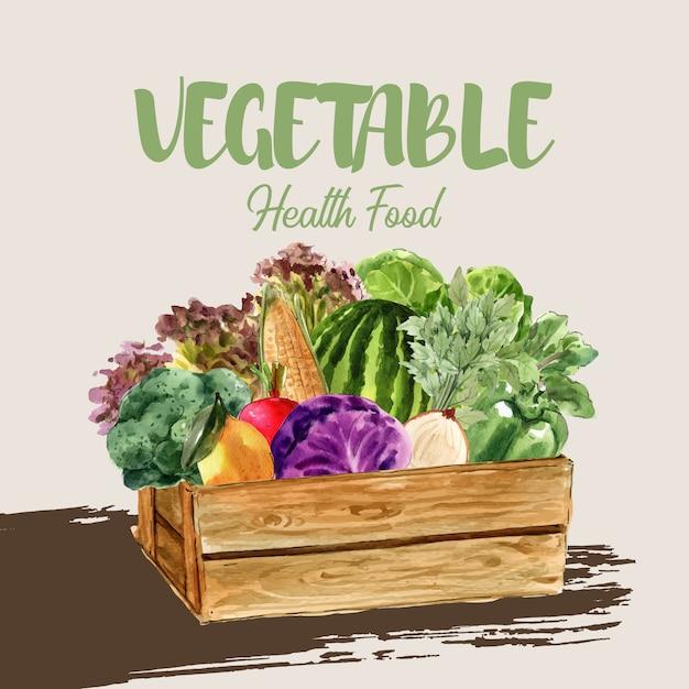 Коллекция растительных акварельных красок. свежая еда органический декор здоровый объявление иллюстрация Бесплатные векторы