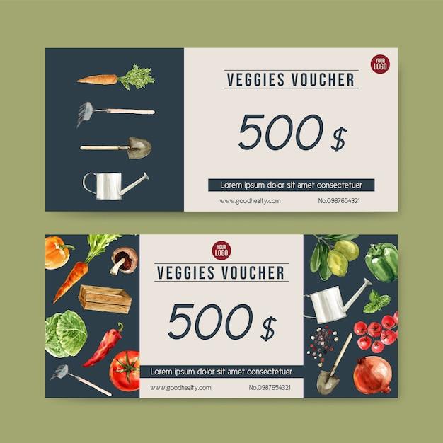 Подарочный ваучер растительный акварельные краски коллекции. иллюстрация свежих продуктов органическая здоровая Бесплатные векторы