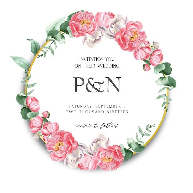 ピンクの牡丹花輪水彩花のテキスト 無料ベクター