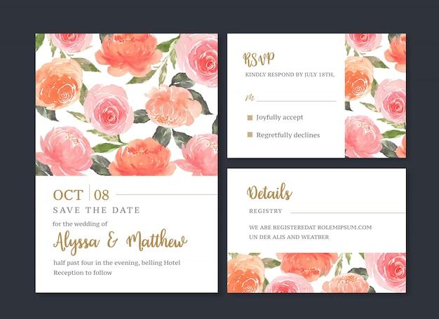 結婚式カード花水彩、感謝カード、招待結婚イラスト 無料ベクター