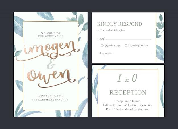 Свадебная открытка цветочная акварель, благодарственная открытка, приглашение на свадьбу Бесплатные векторы