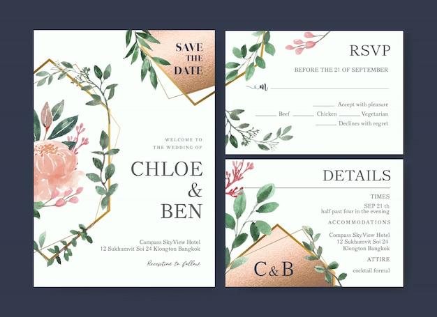 水彩花の結婚式のカードテンプレート 無料ベクター