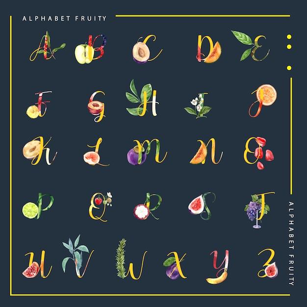 Декоративный другой тип фруктов алфавит английский шрифт. акварельные иллюстрации шаблон. Бесплатные векторы