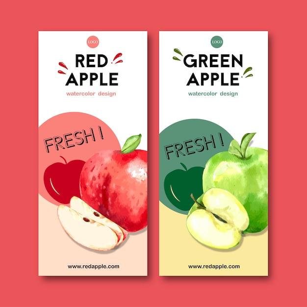 Листовка с фруктами тематические, яблоко акварельные иллюстрации шаблон. Бесплатные векторы
