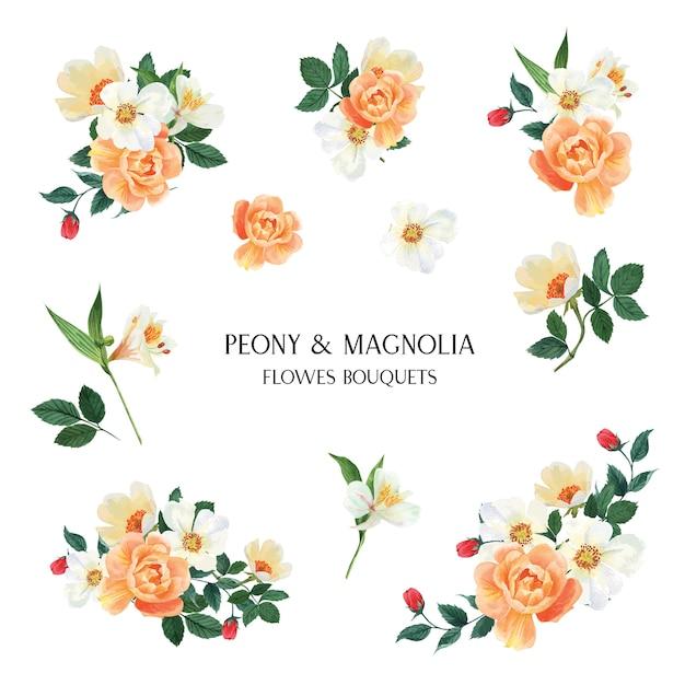 牡丹、モクレン、ユリの花の水彩画の花束植物花柄イラストレーション 無料ベクター
