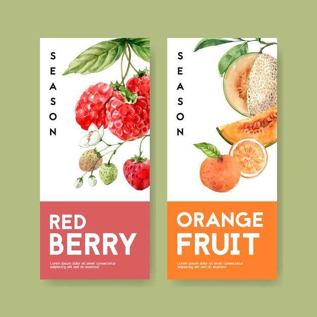 Фруктовый тематический флаер с ягодами и оранжевой концепции для украшения. Бесплатные векторы