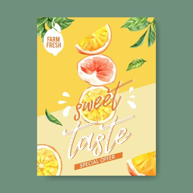 フルーツテーマの水彩画、創造的なイチゴのイラストテンプレートとポスター。 無料ベクター