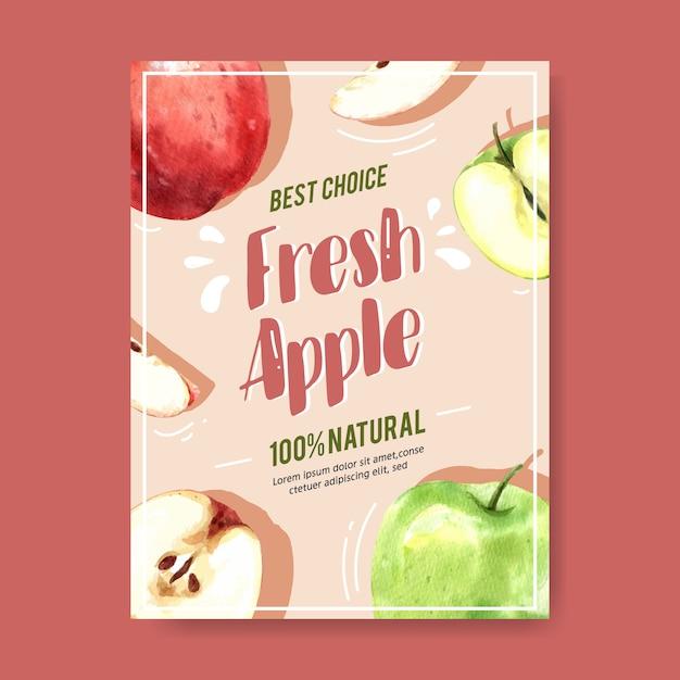 Плакат с яблочными красными и зелеными фруктами, шаблон акварель иллюстрации Бесплатные векторы