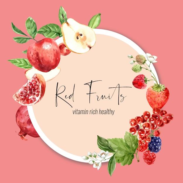 果物をテーマにした花輪、さまざまな果物の水彩イラスト。 無料ベクター